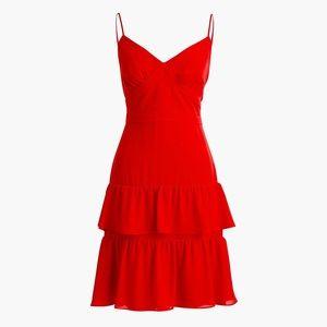 J CREW Cha Cha Tiered Ruffle Mini Dress Red SZ 0
